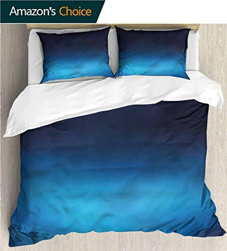 - carmaxs-home 3 Pcs King Size Comforter Set,Box Stitched,Soft,Breathable,Hypoallergenic,Fade Resistant Decorative 3 Piece Bedding Set with 2 Pillow Sham-Navy Blue Ombre Ocean Inspired (79