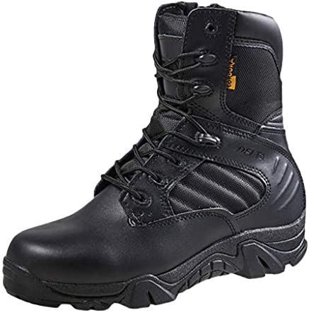 Herren Schwarze Leder Kampfstiefel Mid Height Army Tactical Boots Langlebige Military Jungle Boot Action Kampfstiefel