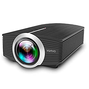 Vamvo Portable LED Projector 1080P 1200 Lumens a Home Theater for Indoor, Outdoor and Night, Support Multi-screen among Laptops, Smartphones and Pads, Multimedia HDMI, VGA, SD, USB and AV Input YG500
