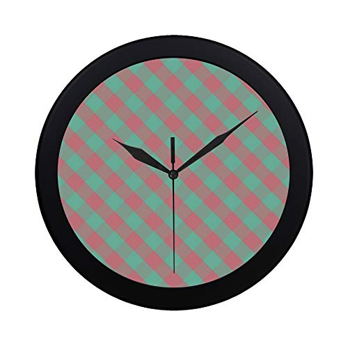 - Modern Simple Pink And Green Gingham Digital Paper By Me Auntie Pattern Wall Clock Indoor Non-ticking Silent Quartz Quiet Sweep Movement Wall Clcok For Office,bathroom,livingroom Decorative 9.65 Inch
