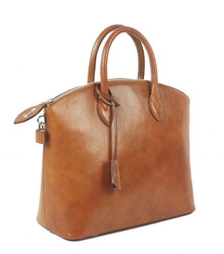 Superflybags Borsa Donna in Vera Pelle Tamponato Lucido modello Star Made in Italy cognac