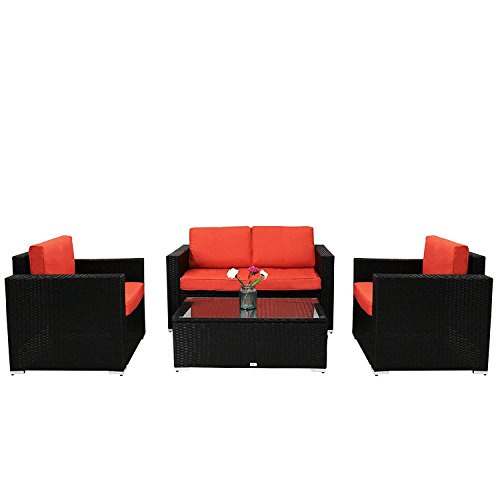 Kinbor Outdoor Patio Furniture Sectional Sofa Set 4 Piece Garden Rattan Wicker S