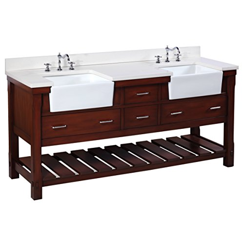 - Charlotte 72-inch Bathroom Vanity (Quartz/Chocolate): Includes a White Quartz Countertop, Chocolate Cabinet with Soft Close Drawers, and White Ceramic Farmhouse Apron Sinks