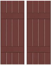 "Ekena Millwork RWB15X028CRM Exterior Four Board Real Wood Sapele Mahogany Board-n-Batten Shutters (Per Pair), 15"" x 28"", Cottage Red"