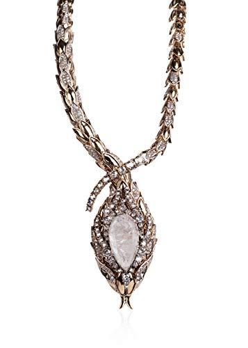 (Roberto Cavalli Womens Gold Swarovski Embedded Crystal Serpent Necklace~RTL$3231)