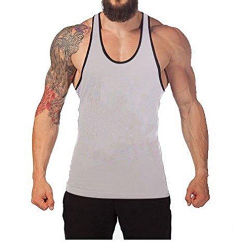5672759772cb3 Mens Cotton Blank Stringer Workout. Review - Q amp Y Men s Cotton Blank  Stringer Y Back Cotton Workout Stringer Gym Tank Tops