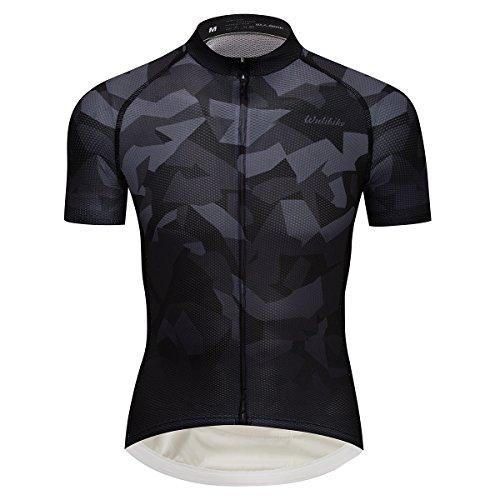 - Black Camouflage Cycling Jersey Unique Snow Mountain Print Biking Shirt Short Sleeve