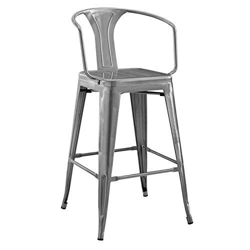 Modway EEI-2817-GME Promenade Modern Aluminum Bistro Bar Stool with Arms Gunmetal ()