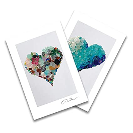 Aqua Original Sea Glass Heart Postcards Two Blank 4x6 Fine Art Best