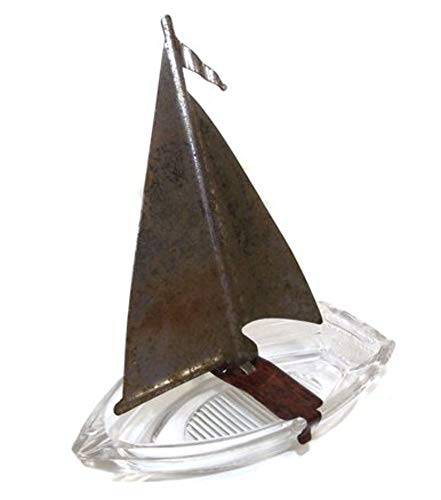 Vintage Row Boat Shaped Figural Glass Candy Container Ashtray w/Metal Sail
