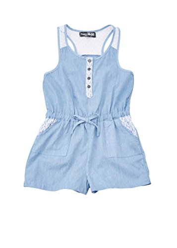 [A33800-LBL-7/8] Chilipop Shorts Romper for Girls, Denim with Lace Detail, Light Blue