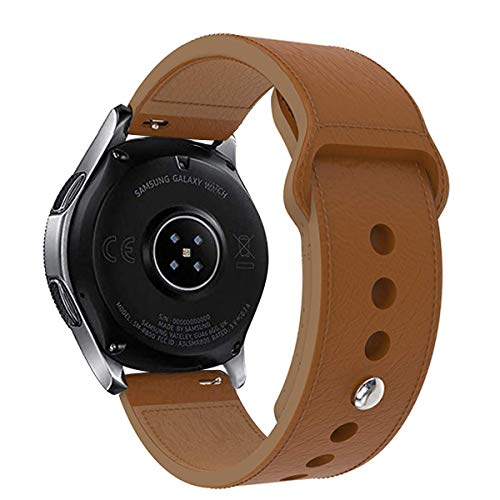 KTcpt Leather Bands Compatible Gear S3 Frontier & Classic and Galaxy Watch 46mm, 22mm Leather Strap Replacement Wristband Compatible Samsung Gear S3 Smartwatch (Brown) 18mm Brown Leather Bands Strap
