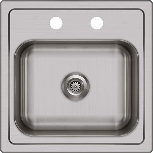 (Elkay DSEP1515C 20 Gauge Stainless Steel Single Bowl Top Mount Bar/Prep Sink Kit, 15 x 15