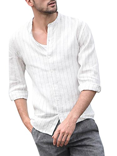 Taoliyuan Mens Cotton Banded Collar Long Sleeves Casual Vertical Striped Button Down Shirts Regular Fit White