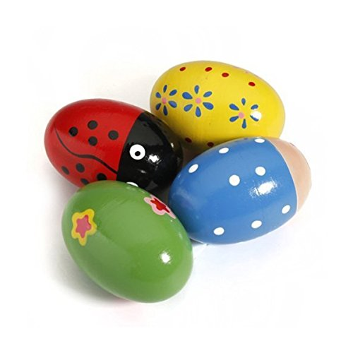 OULII 4pcs Maracas Egg Shakers Music Percussion Toy for Kids (Random Color)