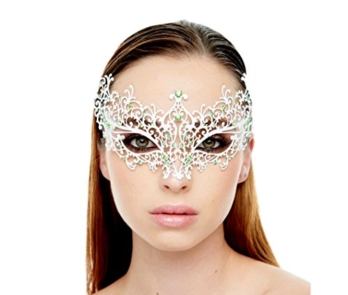 [KAYSO INC BA005 Michelle Collection Luxury Metal Filigree Laser Cut Masquerade Mask, White with Green] (Rhinestone Masquerade Mask)