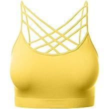 HATOPANTS Women's Seamless Triple Criss-Cross Front Bralette Sports Bra