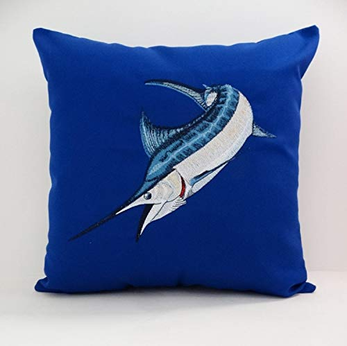 Blue Marlin Pillow - ances Lincol Marlin Pillowcase Cover Blue Marlin Sunbrella 16 x 16 True Blue Indoor Outdoor Game Fish Boat Pillowcase Nautical al Ocean sea