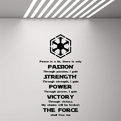 Quotes Art Decals Vinyl Removable Wall Stickers Star Wars Sith Code Quote Movie Art Poster Décor for Living Room Bedroom ()