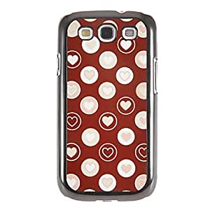 Love Hearts Pattern Mirror Smooth Back Hard Case with HD Screen Film 3 Pcs for Samsung Galaxy S3 I9300