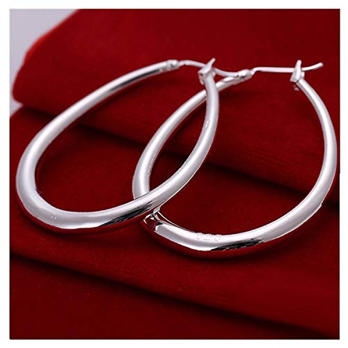 (Foreverstore 925 Sterling Silver Fashion Classic Big Hoop Drop Dangle Earring)