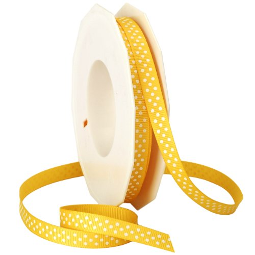 - Morex Ribbon Swiss Dot Polyester Grosgrain Ribbon, 3/8-Inch by 20-Yard Spool, Bright Yellow