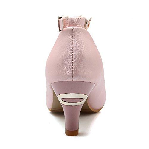 AllhqFashion Mujer Puntera Redonda Puntera Cerrada Tacón Medio Material Suave Sólido Hebilla De salón Rosa