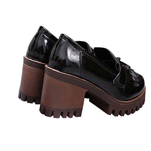 by Dear Black Platform Mid Chunky Shoes Tassels Heels Time Oxfords Women cqqv1Wzn6