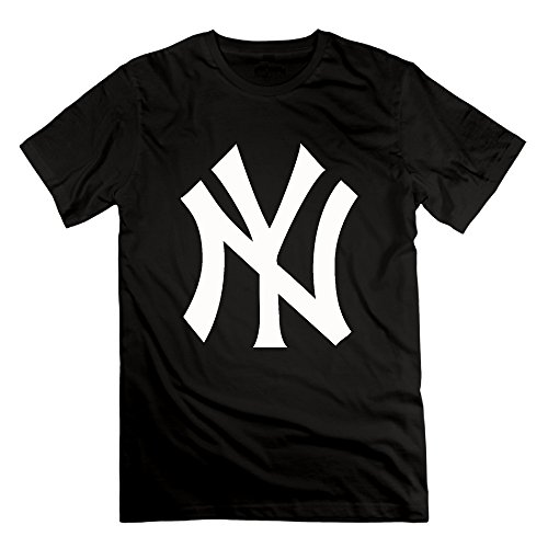 JUNJ Men's Yankees Logo Novel T-shirts Black Size 3X