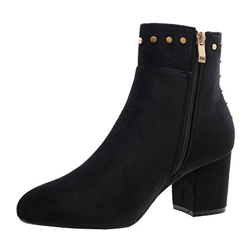 BLACK 8 Womens Size Heels NEW Buckle Ladies Shoes Block High Saute Styles 3 Ankle Casual Chelsea Boots Mid fUqxBaB