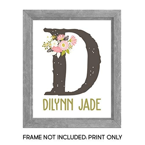 Monogram Girls Floral Initial Name Nursery Wall Art - Custom - 8x10 UNFRAMED Print - Rustic - Pink Moss Green - Recycled - Eco Friendly from K and V Crafts