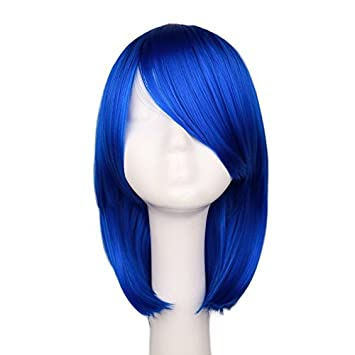 Amazon.com   UltimaFio - Women Girls Bob Straight Cosplay Wig Costume Party  Black White BLue Red Pink 40 Cm Synthetic Hair Wigs  16inches X Long Bob  Dark ... 6767066feb