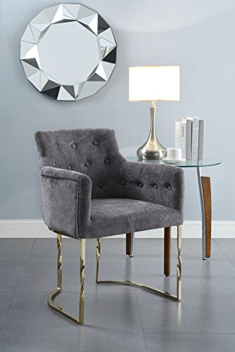 Amalfi Dining Chair - Chic Home Amalfi Accent Chair Button Tufted Linen Upholstered Polished Brass Solid Metal Frame, Modern Contemporary, Grey
