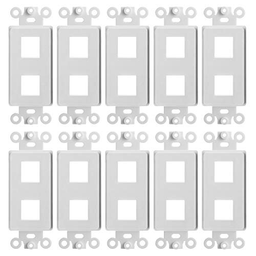 (CMPLE – 2 Port Decora Wall Plate 1-Gang Keystone Decora Insert, Jack Single Gang Decora Wall Plate – (10 Pack))
