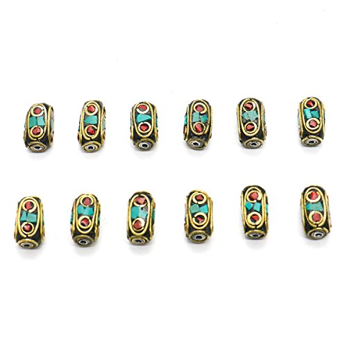 Buorsa 12 Pcs Antique Gold Bead DIY Bracelet Jewelry Handmade Tibetan Style Beads Coral and Turquoise Beads for jewelry making