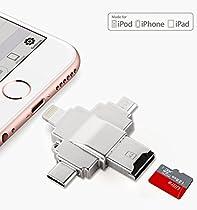 iDiskk High-Speed Flash Drive and Card Reader with Lightning&USB-C&Micro-USB Ports For iPhone, iPad, Galaxy, Nexus 5x/6p, Pixel, Chromebook, Macbook Pro 2016 (thunderbolt 3 compatible)