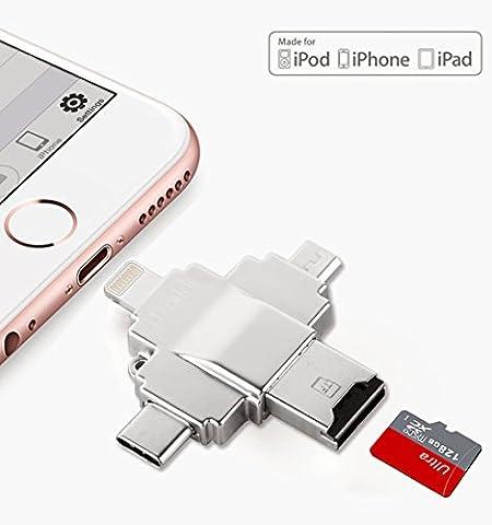 iDiskk High-Speed Flash Drive and Card Reader with Lightning&USB-C&Micro-USB Ports For iPhone, iPad, Galaxy, Nexus 5x/6p, Pixel, Chromebook, Macbook Pro 2016 (thunderbolt 3 (Usb Drive 128 Gb With Micro Usb)
