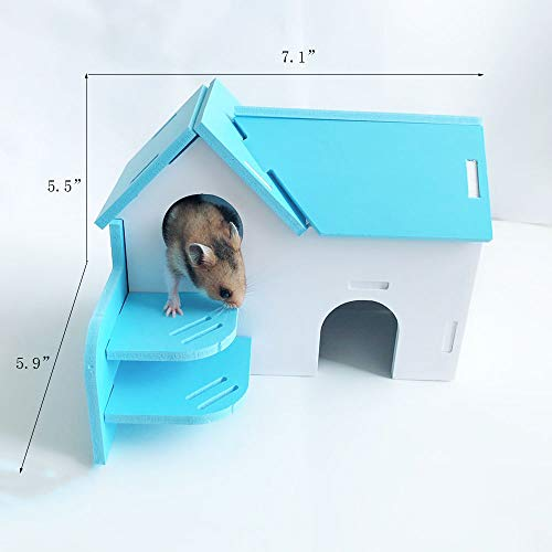 Picture of Wooden Hamster House,Hideout Hut Exercise Natural Funny Nest Toy(Pack of 2) (Blue)