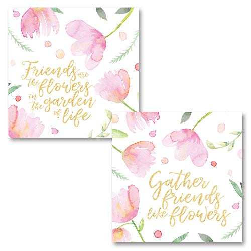 - Pink Watercolor-Style 'Friends are The Flowers in The Garden of Life' and 'Gather Friends Like Flowers' Set; 2-12x12 Unframed Paper Posters