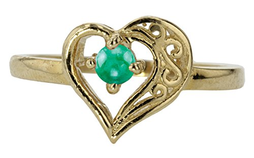 14k Yellow Gold Cabochon Natural Genuine Green Emerald Round Filigree Heart Promise Love Band Ring Size 9 by Sac Silver