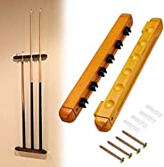 JuxYes Pack of 2 Billiard Racks Holder Pool Cue Rack Wall Mounted - Hardwood Billiard Stick Rack with 6 Cue Cl