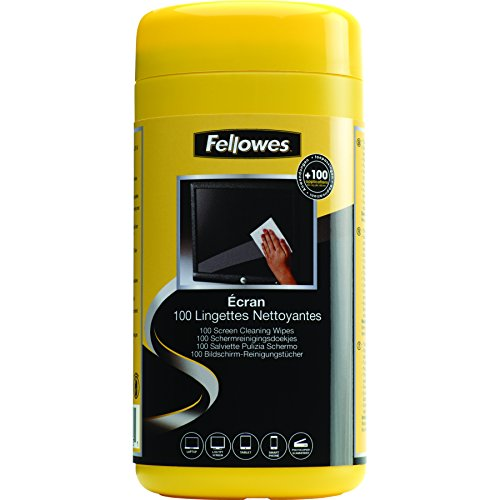 Fellowes 99703 Screen (Fellowes Pre-Moistened Screen Cleaning Wipes, 100 per Tub (99703))