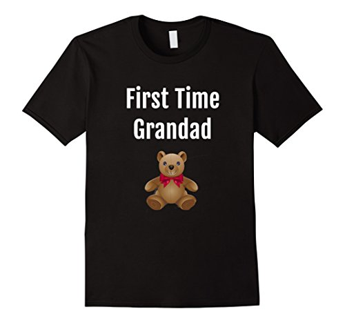 First Time Grandpa Gifts - Mens First Time Grandpa, New Baby Announcement Fun T Shirt, Dk Medium Black