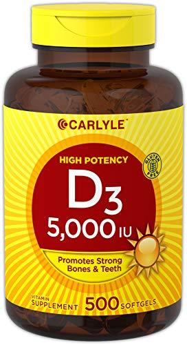 Carlyle Vitamin D3 (5000 IU) Huge Size 500 Softgel Supplement – Non-GMO, Gluten Free