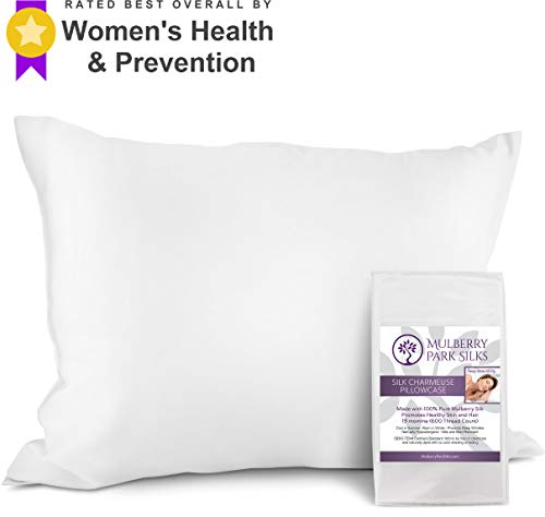 Mulberry Park Silks 100% Pure 19 Momme Pillowcase on Both Sides, Hypoallergenic Soft Breathable Improved Sleep Hair and Skin, Envelope (no Zipper!) Closure, 600 Thread Count, Oeko-TEX White, Standard