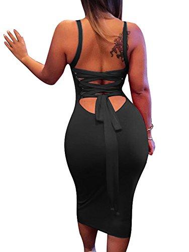 BEAGIMEG Womens Sexy Lace Up Backless Bodycon Midi Party Club Dress, Black, Large, Black, Large