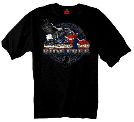 Hot Leathers Flag Bike  100% Cotton Double Sided Printed Biker T-Shirt (Biker Apparel)