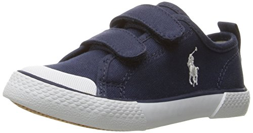 Polo Ralph Lauren Kids Boys' Camden EZ Canvas with Wht PP Sneaker, Navy, 7 M US - Us Lauren By Ralph Polo