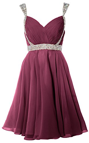 MACloth Women Crystals Straps Short Prom Homecoming Dress 2017 Formal Gown Wine Red