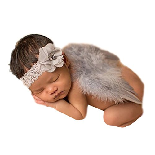 Newborn Baby Feather Angel Wings, Flower Halo Set (Pink)]()